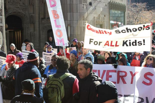 Hundreds marched down Michigan Avenue in November to protest potential school closings.