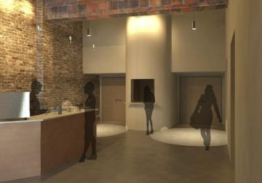 A rendering by architects McBride Kelley Baurer shows the entry of the new home for the Filament Theatre Group.