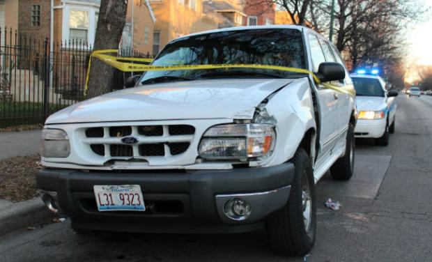 A man driving his sons to work was shot on the Northwest Side Tuesday morning.