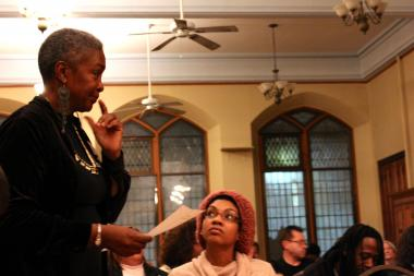 Mental Health activist N'Dana Carter played Mayor Rahm Emanuel's attorney in the mock trial held at Trinity Episcopal Church Thursday.