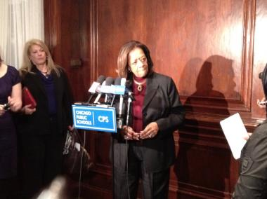 Chicago Public Schools CEO Barbara Byrd-Bennett addresses reporters at a press conference announcing a planned five-year moratorium on school closures.
