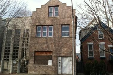 A dilapidated three-flat home at 1320 N. Leavitt St. was purchased by a merger and acquisitions lawyer for $251,000 in May. The attorney's future home is a pink brick Parisian-style mansion designed by the East Village firm, Red Architects.