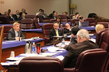 Ald. Bob Fioretti questions the 20-year digital billboard deal during Monday's City Council committee meeting.