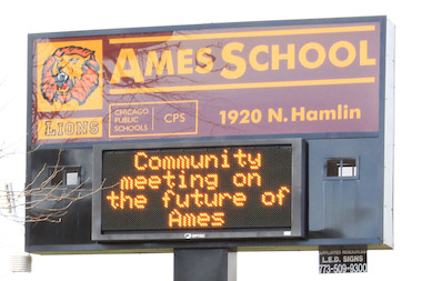 Ames Middle School sign announcing community meeting about converting the school to a military school, Nov. 1, 2012.