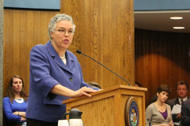 President Toni Preckwinkle presides over the Cook County Board.
