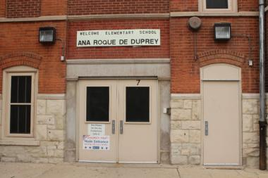 The entrance to Ana Roqué de Duprey Elementary School, 2620 W. Hirsch St.