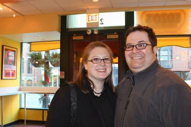 Jonathan and Lynn Frazier were married Wednesday afternoon on 12-12-12 and made their first stop after tying the knot at Edzo's Burger Shop in Lincoln Park.