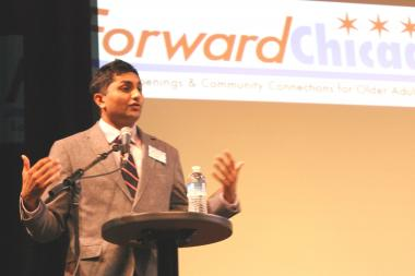 Ald. Ameya Pawar (47th) opened voting on the ward's 2013 menu projects.