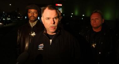 Chicago Police Supt. Garry McCarthy speaks to reporters outside Advocate Christ Medical Center in Oak Lawn, where an off-duty police officer was taken after being shot during an armed robbery attempt early Monday.