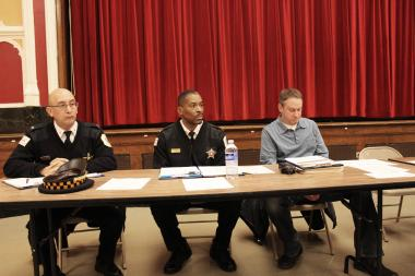 James Jones (center) was named commander of the Foster (20th) District.