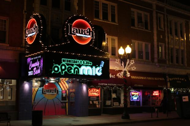 The Laugh Factory is located at 3175 N. Broadway St., near the corner of Belmont and Broadway.