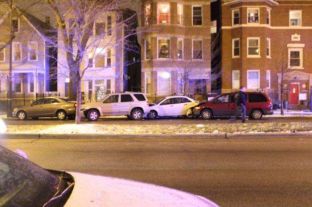 A 19-year-old man was shot in the leg in Logan Square Thursday during a drive-by, police said.