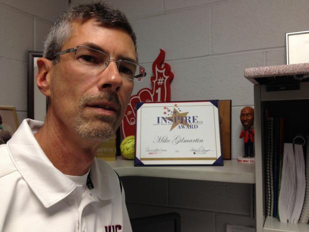 "UIC trainer Mike Gilmartin overcame cancer and recently won the school's ""INSPIRE"" award."
