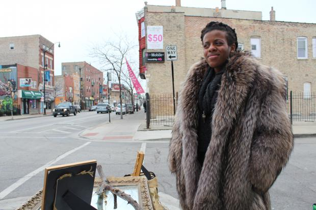 Oneka Ijeoma has set up temporary shop outside of Cafe Jumping Bean in Pilsen.