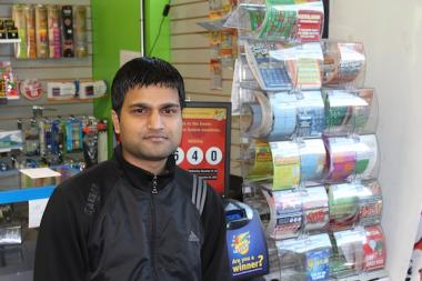 Uday Karna, the young owner of Myshop Convenience Store owner at 4600 N. Magnolia Ave.