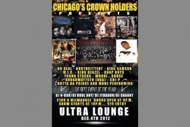 A variety of hip-hop artists were playing the Ultra Lounge at 2169 N Milwaukee Ave early Wednesday morning when shots were fired and four men were injured, police and witnesses said.