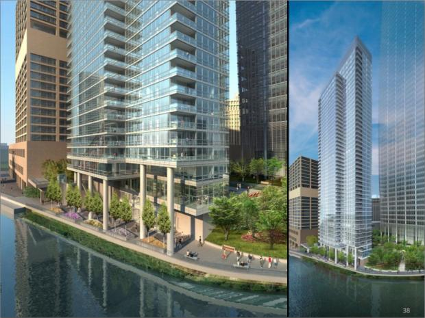 Renderings from the Wolf Point project proposal presented at an Oct. 29 community meeting.