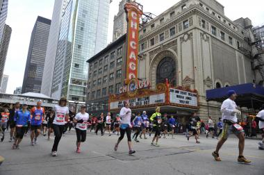 Thousands of people run in the 2012 Bank of America Chicago Marathon on Oct. 7, 2012.