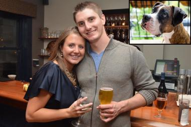 Matt and Meghan Gebhardt plan to open 4 Paws Brewery in Edgewater this year with their dog Sadie (inset).