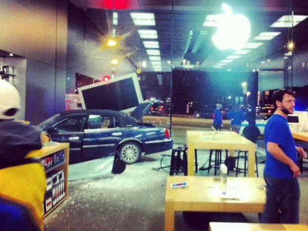 Shoppers got a scare Sunday when a car crashed into the Lincoln Park Apple Store.