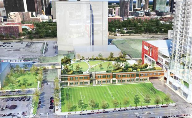 Renderings of the rooftop park proposed for a British School location in the South Loop.