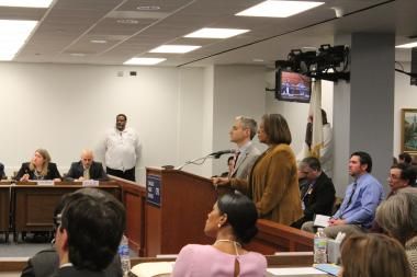 Chicago Public School CEO Barbara Byrd-Bennett and CPS Chief Transformation Officer Todd Babbitz address the Chicago Board of Education Wednesday afternoon.