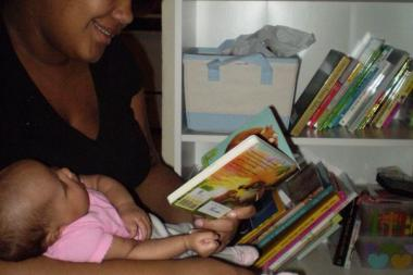Lake View High School teacher Janet Allen provided books for her student Chyla, pictured here with her daughter.