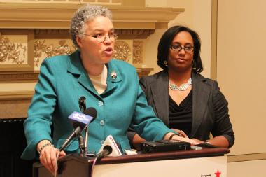 Cook County Board President Toni Preckwinkle endorsed state Sen. Toi Hutchinson for Congress Monday at the Palmer House Hilton in Chicago.