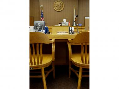 Defendant's seat at San Mateo County Superior court Jan. 21, 2004, in Redwood City, Calif.