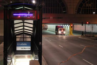 The LaSalle Stop of the CTA Blue Line downtown.