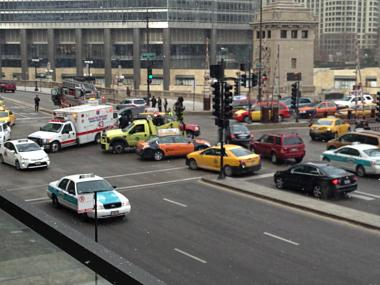 An accident at North Michigan Avenue and East Wacker Drive prompted an EMS response and caused a traffic jam downtown Thursday morning