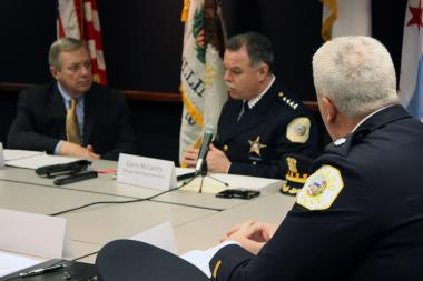 Sen. Dick Durbin (l.) listens to Chicago Police Supt. Garry McCarthy talk about gun violence in Chicago. Chicago Lawn District Cmdr. David McNaughton (r.) and other law enforcement officials also participated in the Thursday discusssion.
