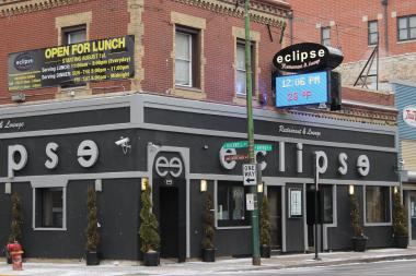 Eclipse Restaurant and Lounge, located at 2554 W. Diversey Ave., and the LED sign that's bothering some neighbors, Jan. 3, 2013.