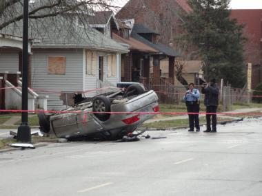 The scene of a fatal car wreck at 102nd and State streets in Roseland on Jan. 12, 2013.