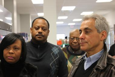 From left, Melinda Kelly, executive director of the Chatham Business Association, Ald. Roderick Sawyer (6th) and William Garth Sr., founder and chief exeutive officer for The Citizen Newspaper Group, joined Mayor Rahm Emanuel Saturday at Louis' Groceries, 7604 S. Cottage Grove Ave., a new grocery store the mayor visited for the first time on Saturday, Jan. 12, 2013.
