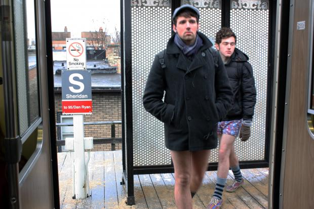 "CTA Red Line riders joined commuters in several cities throughout the world Sunday in the ""No Pants Subway Ride,"" an event conceived by  Improv Everywhere , a New York City-based comedy group."
