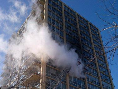 A fire raged in a South Shore high-rise in the 6700 block of South Shore Drive.