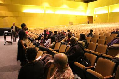 Principal Shontae Higginbottom addresses parents concerns about a Dec. 13 sit-in at King Collge Prep at a town hall meeting Wednesday.
