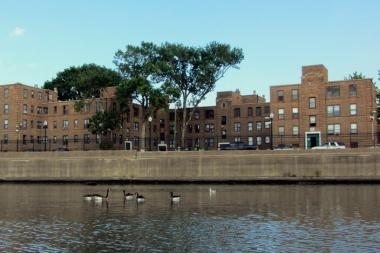 The Julia C. Lathrop Homes, viewed from the Chicago River, has neighbors concerned about redevelopment plans.
