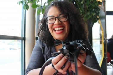 Pilsen Jewelry designer creates jewelry out of rubber bike inner tubes.