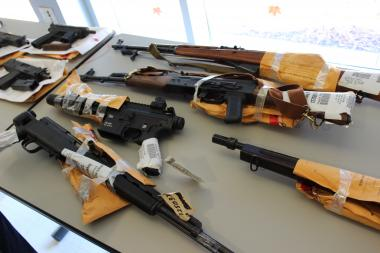 Seized guns from an earlier Chicago Police Department showcase.