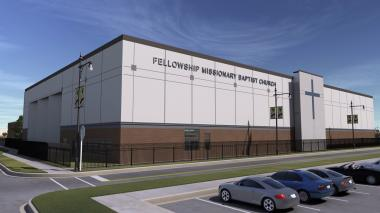 A rendering of the future home of Fellowship Missionary Baptist Church, set to move to 8522 S. Lafayette Ave. in Chatham after receiving donated land.