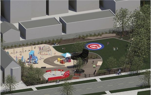 The Cubs presented renderings of the School Street Playlot, at 1232 and 1234 W. School St., to the park's advisory council on Wednesday. Designs are not yet final.