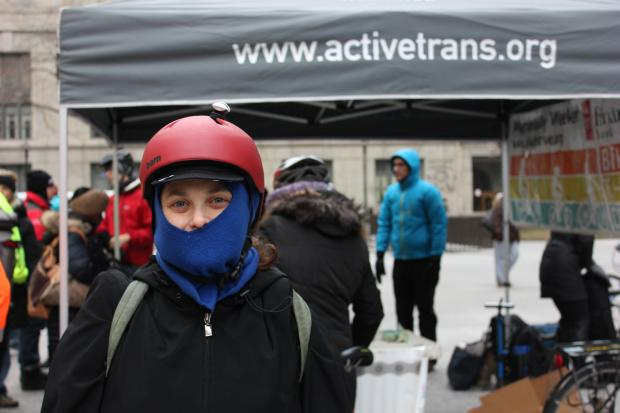 Cyclists braved the cold for Winter Bike to Work Day at Daley Plaza, where they swapped stories and tuned up their bikes over cheesecake and coffee.