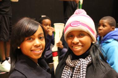 Tamisha Dorsey, left, and Raeven Funnye were among 50 youth with the South Shore Drill Team who left Friday, Jan. 18, 2013, from Chicago to head to Washington, D.C., to perform in the Presidential Inaugural Parade on Monday.
