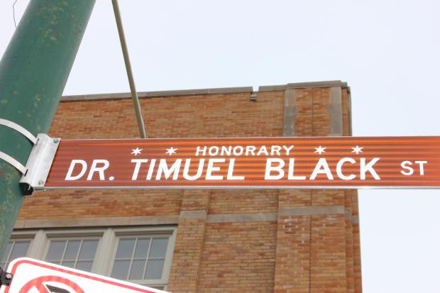 A new street named was displayed Saturday, Jan. 19, 2013 at 50th and State Street for historian Timuel Black, 94, a local civil rights activist.