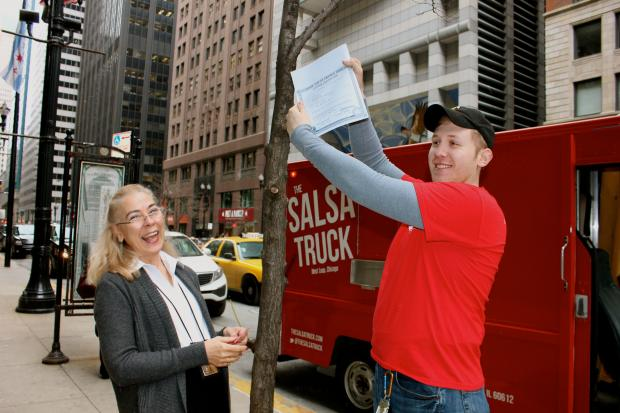 The Salsa Truck, owned by Dan Salls, became the first food truck to get an on-board preparer's license Thursday.