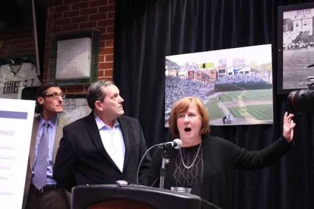 Beth Murphy of Murphy's Rooftops and George Loukas of Cubby Bear released photos of digital billboards proposals at a press conference on Friday, Jan. 25, 2013.