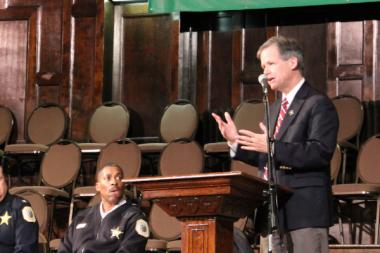 Ald. James Cappleman (46th) spoke at a town hall meeting on Feb. 27, 2013 about potential changes to the Chateau Hotel.