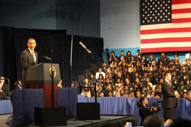 President Barack Obama spoke at Hyde Park Academy Friday afternoon.